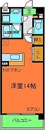 南海線 北助松駅 徒歩12分の賃貸マンション 1階ワンルームの間取り