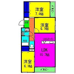 JR阪和線 富木駅 徒歩7分の賃貸マンション 3階3LDKの間取り