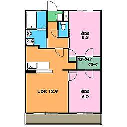 JR東海道本線 島田駅 バス35分 静波1丁目下車 徒歩6分の賃貸マンション 2階2LDKの間取り