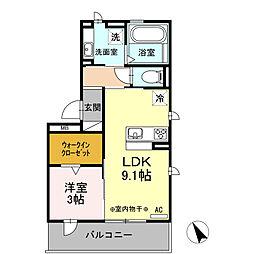 リーリエ 1階1LDKの間取り