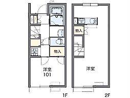 名鉄犬山線 柏森駅 徒歩15分の賃貸アパート 1階1LDKの間取り