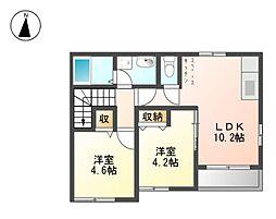 名鉄津島線 甚目寺駅 徒歩31分の賃貸アパート 2階2LDKの間取り