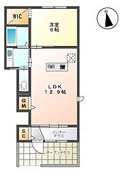 名鉄尾西線 日比野駅 徒歩8分の賃貸アパート 1階1LDKの間取り