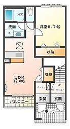 JR常磐線 石岡駅 徒歩13分の賃貸アパート 1階1LDKの間取り