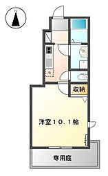 名鉄津島線 津島駅 徒歩23分の賃貸アパート 1階1Kの間取り
