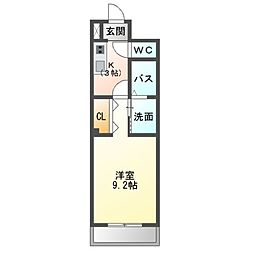 JR総武本線 都賀駅 徒歩6分の賃貸マンション 2階1Kの間取り