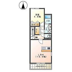 JR東海道本線 平塚駅 バス28分 大神下車 徒歩2分の賃貸アパート 2階1LDKの間取り