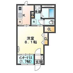 (仮称)神栖市新築 スターテラスII 1階1Kの間取り