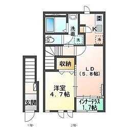 (仮称)神栖市新築 スターテラスII 2階1LDKの間取り