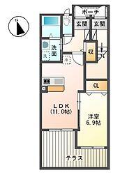 JR御殿場線 裾野駅 徒歩10分の賃貸アパート 1階1LDKの間取り