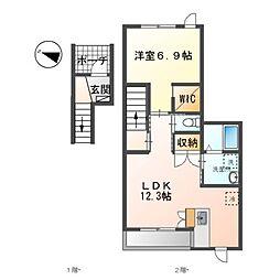 JR御殿場線 裾野駅 徒歩10分の賃貸アパート 2階1LDKの間取り