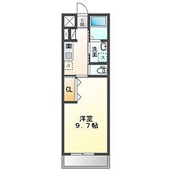 袖ケ浦市奈良輪49街区新築アパート 2階1Kの間取り