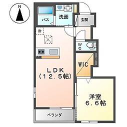 真岡鐵道 七井駅 徒歩14分の賃貸アパート 1階1LDKの間取り