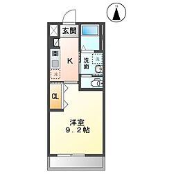 木更津市金田東3丁目新築アパート 2階1Kの間取り