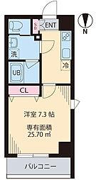 COURT TAKETOKU III 7階1Kの間取り