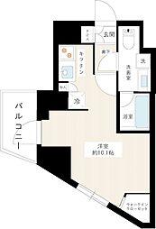 京王線 上北沢駅 徒歩9分の賃貸マンション 2階ワンルームの間取り
