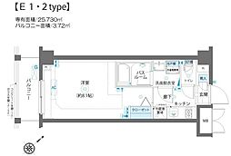 エルミタージュ蒲田南 3階1Kの間取り