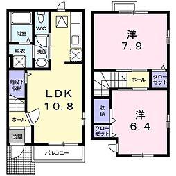 クレール 1階2LDKの間取り
