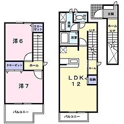 リッシュ・ファミーユ 2階2LDKの間取り