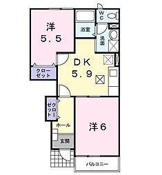 天竜浜名湖鉄道 二俣本町駅 バス15分 光明山口下車 徒歩4分の賃貸アパート 1階2DKの間取り