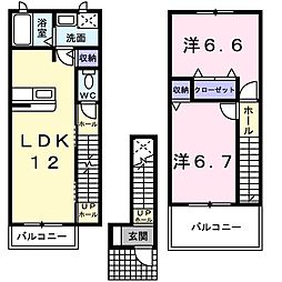 ソレアードA館 2階2LDKの間取り