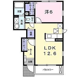 JR東北本線 矢板駅 バス5分 水道庁舎下車 徒歩3分の賃貸アパート 1階1LDKの間取り