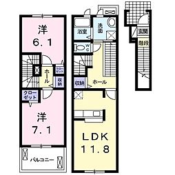 JR東海道本線 沼津駅 バス15分 八幡神社前下車 徒歩1分の賃貸アパート 2階2LDKの間取り