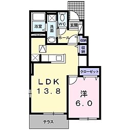 ジェルメ86 V 1階1LDKの間取り