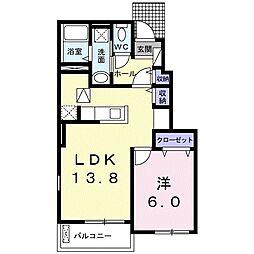 カ-サ フェリスB 1階1LDKの間取り