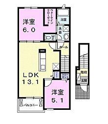 JR飯田線 東新町駅 徒歩13分の賃貸アパート 2階2LDKの間取り