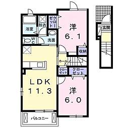 東武伊勢崎線 東武動物公園駅 徒歩22分の賃貸アパート 2階2LDKの間取り