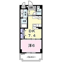 サングローブ3 1階1DKの間取り
