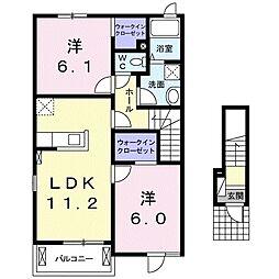 サプライズ・タウン D 2階2LDKの間取り