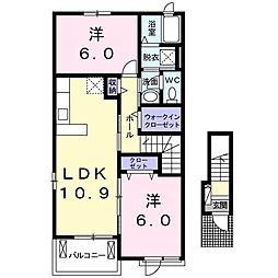 ノバガーデンIII 2階2LDKの間取り