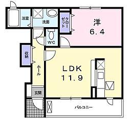 東武宇都宮線 壬生駅 徒歩20分の賃貸アパート 1階1LDKの間取り
