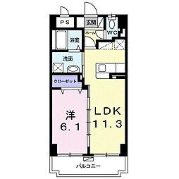 レインボー シャワー 5階1LDKの間取り