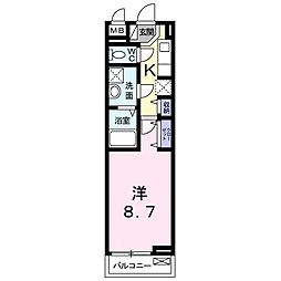 広野町アパート 2階1Kの間取り