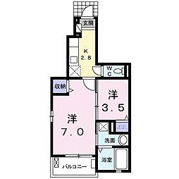 JR東北本線 氏家駅 徒歩22分の賃貸アパート 1階1Kの間取り