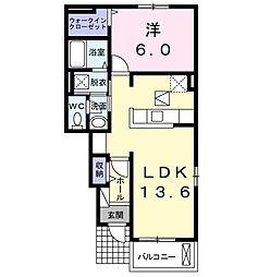 グランパール富里七栄 II 1階1LDKの間取り