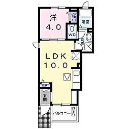遠州鉄道 遠州小林駅 徒歩2分の賃貸アパート 1階1LDKの間取り