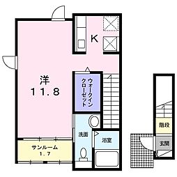 JR中央本線 新守山駅 徒歩8分の賃貸アパート 2階1Kの間取り