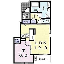 ラ.ノストラ.カーサK II 1階1LDKの間取り