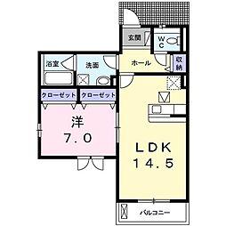 菅1丁目アパート 1階1LDKの間取り