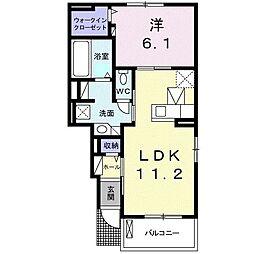 東武日光線 南栗橋駅 徒歩18分の賃貸アパート 1階1LDKの間取り