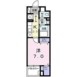 静岡鉄道静岡清水線 古庄駅 徒歩7分の賃貸マンション 2階1Kの間取り