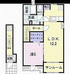 つくばエクスプレス みどりの駅 徒歩32分の賃貸アパート 2階1LDKの間取り