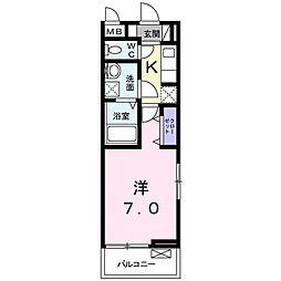 JR高徳線 栗林公園北口駅 徒歩15分の賃貸アパート 3階1Kの間取り