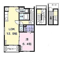 名鉄名古屋本線 大里駅 徒歩15分の賃貸アパート 3階1LDKの間取り