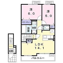 遠州鉄道 さぎの宮駅 バス32分 三方原西下車 5kmの賃貸アパート 2階2LDKの間取り