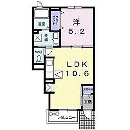 名鉄常滑線 榎戸駅 徒歩12分の賃貸アパート 1階1LDKの間取り